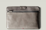 grey leather macbook sleeve