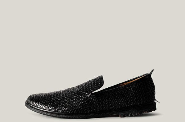 Venetian loafer black woven leather