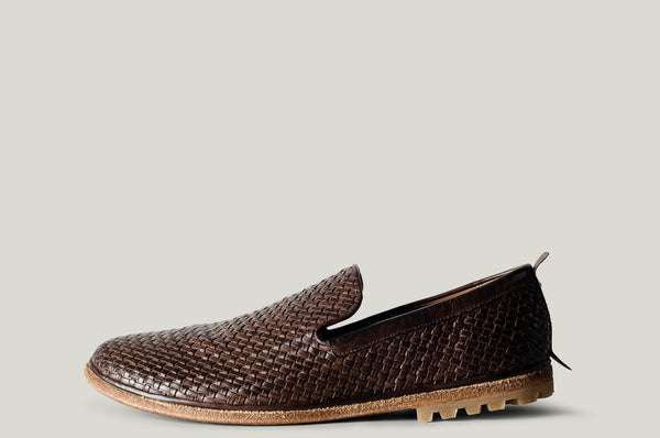 Venetian loafer brown woven leather