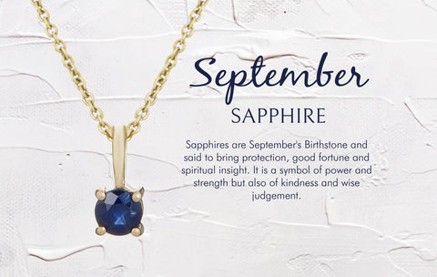 September Birthstone Necklace Sapphire