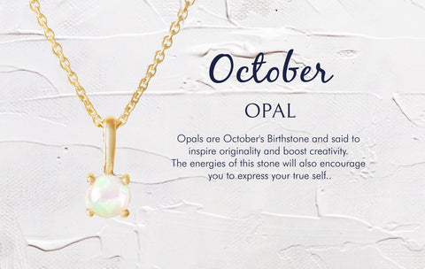 October Birthstone Necklace Opal