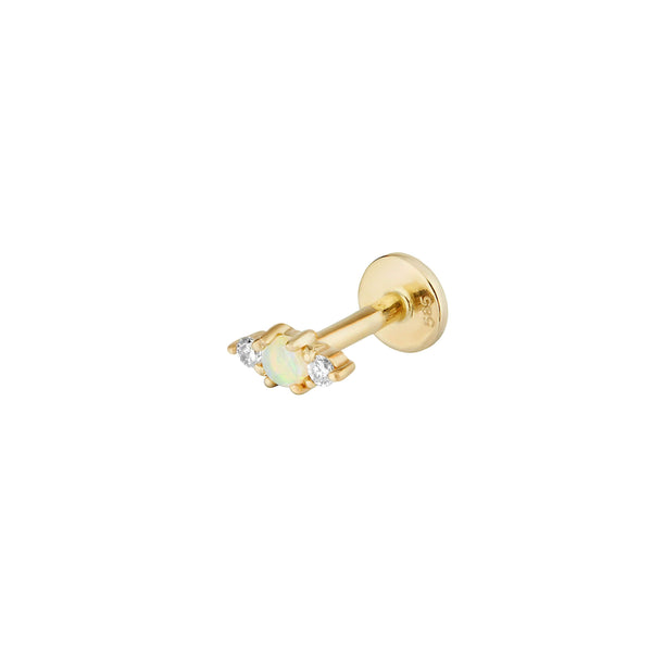 Opal & Diamond Flat Back Earring 14k Gold
