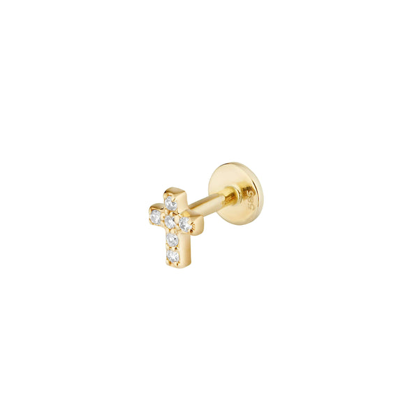 Diamond Cross Flat Back Earring 14k Gold
