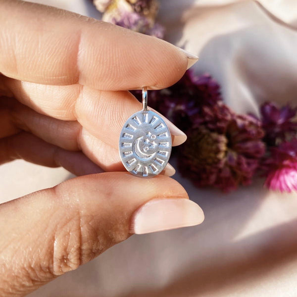 Celestial Diamond Coin Oval Pendant Sterling Silver