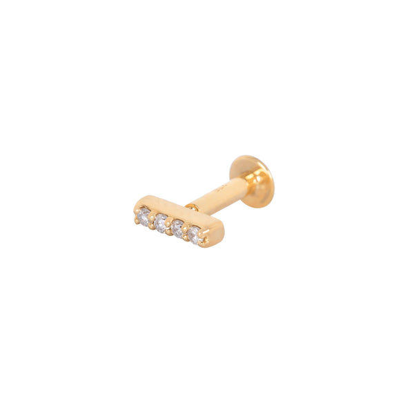 Diamond Bar Flat Back Earring 9k Gold