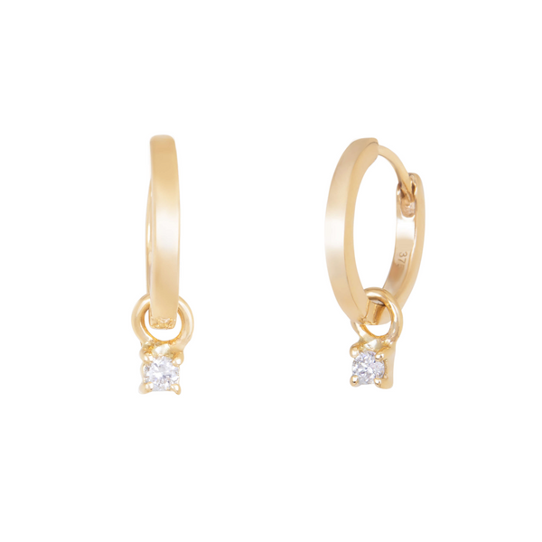 Diamond Charm Hoops 9k Gold