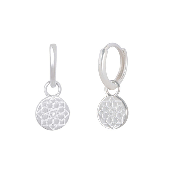 Zohreh Coin Charm Hoops Sterling Silver