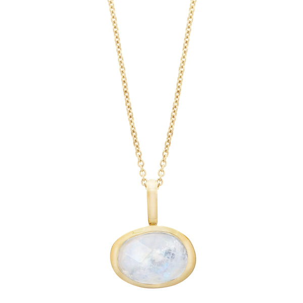 Organic Moonstone Bezel Necklace 9k Gold