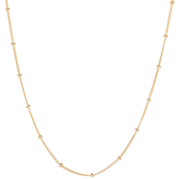 "18"" Stationed Bead Chain 9k Gold"