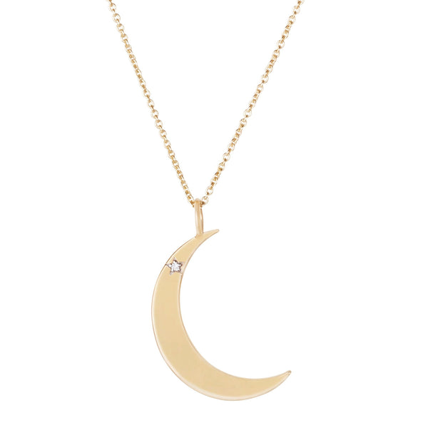 Diamond Star Moon Necklace 9K Gold