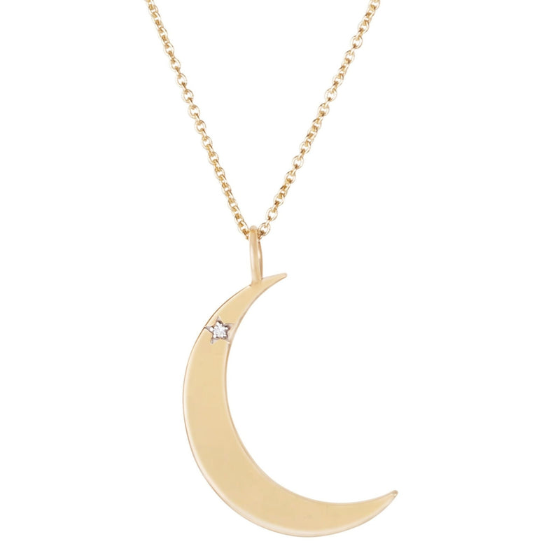 Diamond Star Moon Pendant 9K Gold