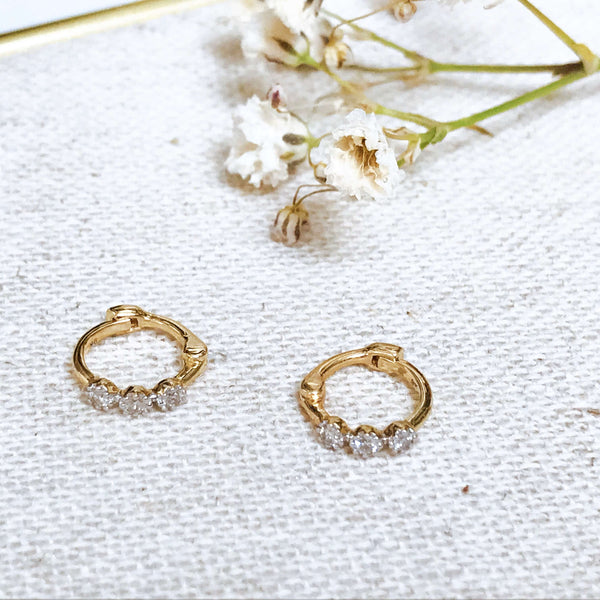 Mini Diamond Trilogy Huggie Hoop Earring 9k Gold