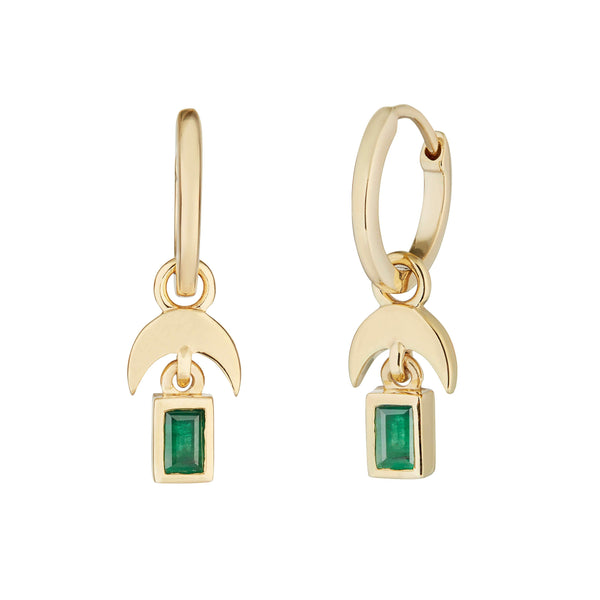 Emerald Horn Hoop Earrings 9k Gold