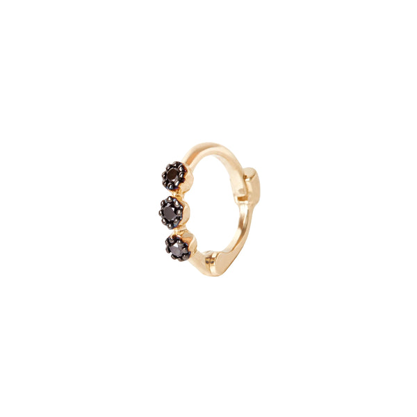 Mini Black Diamond Trilogy Huggie Hoop Earring 9k Gold