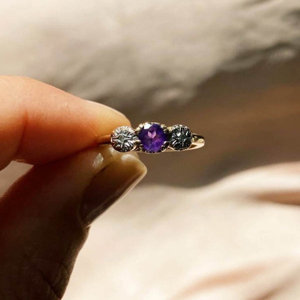 9kt Gold Starburst Diamond & Amethyst Vintage Ring