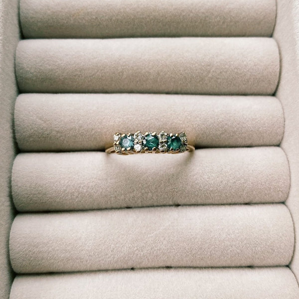 9kt Gold Diamond & Aquamarine Station Vintage Ring