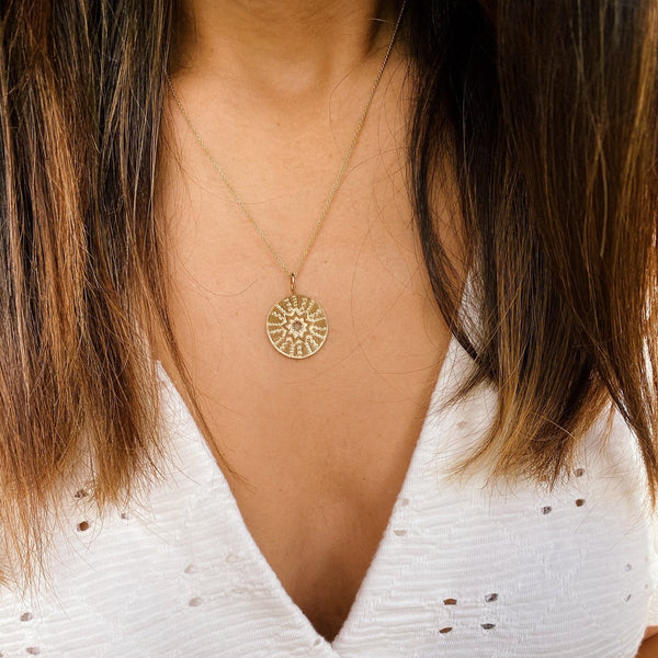 Large Starburst Coin Pendant 9k Gold