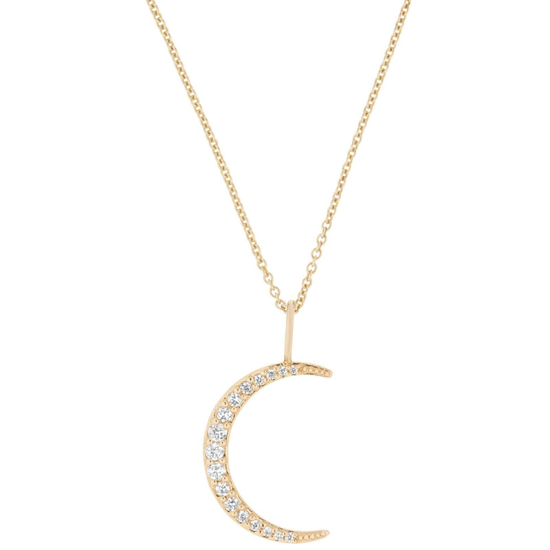 Diamond Moon Necklace 9k Gold