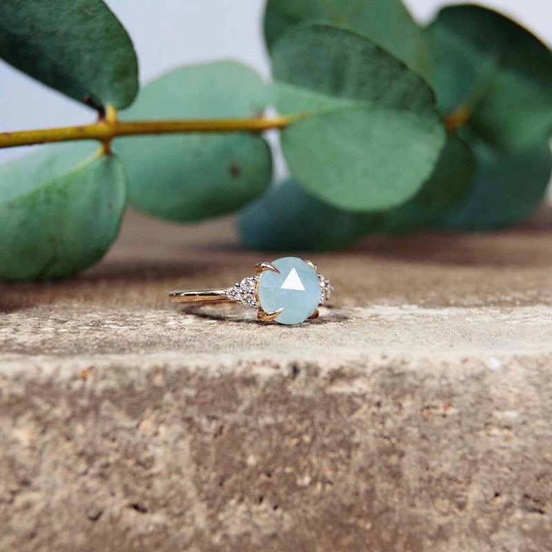 Aquamarine & Diamond Ring 9k Gold