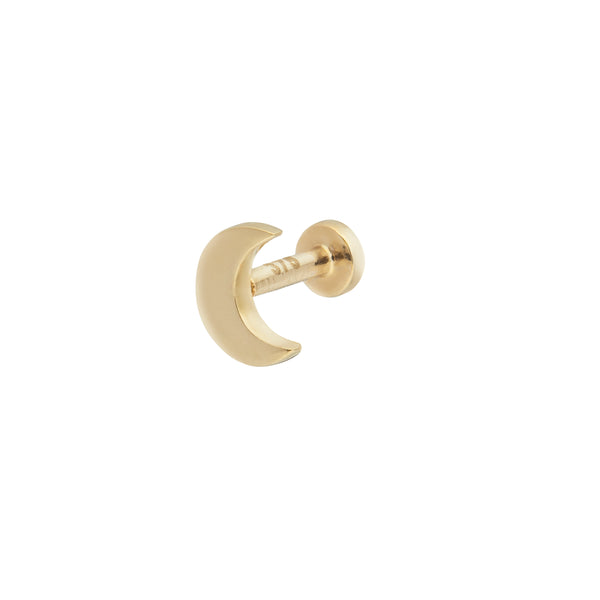Moon Flat Back Earring 9k Gold