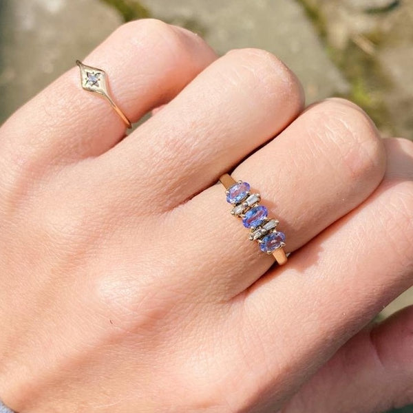 9kt Gold Tanzanite & Diamond Vintage Ring
