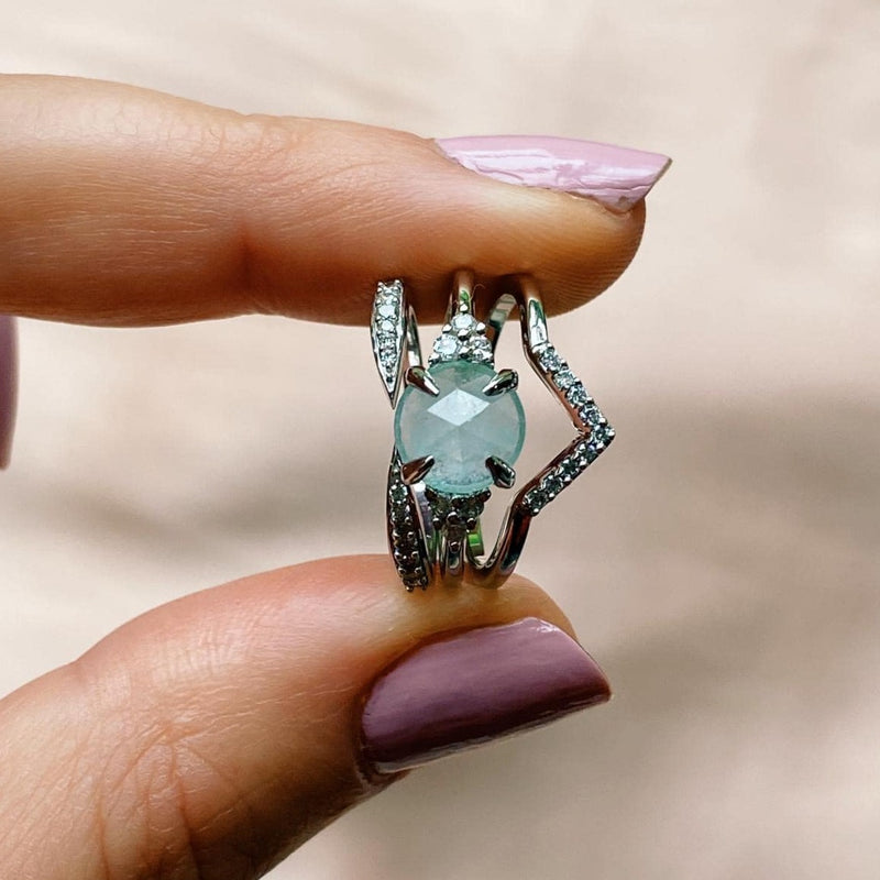 Aquamarine & Diamond Ring Sterling Silver