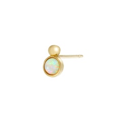 Opal Disc Stud 9k Gold