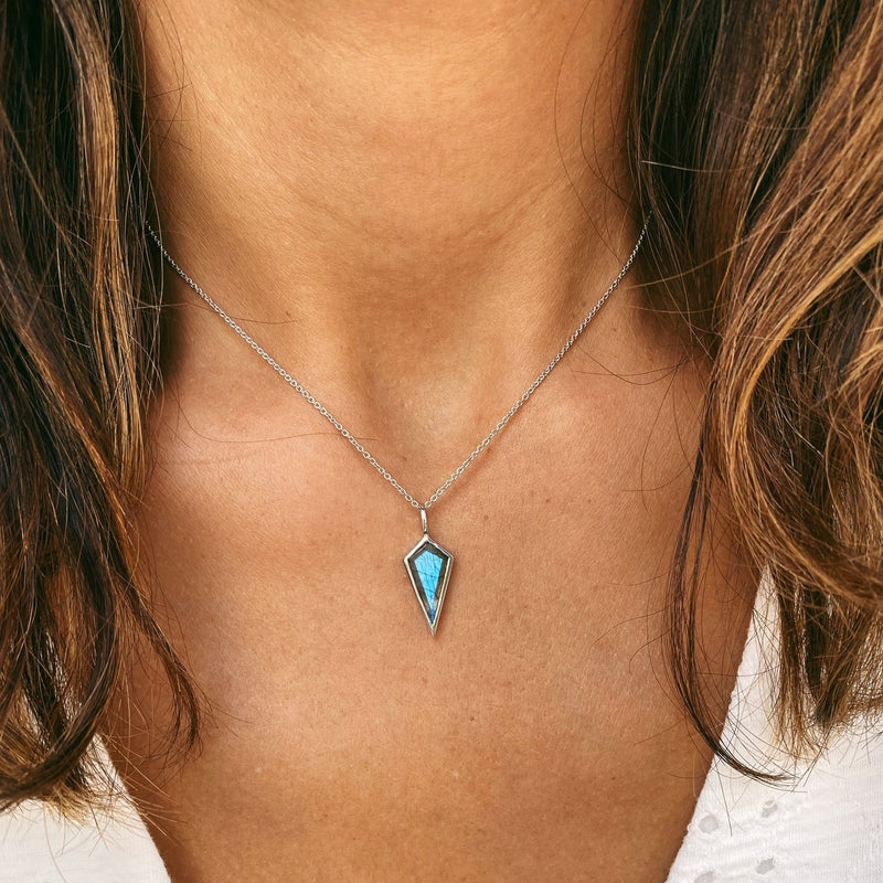 Labradorite Rhombus Necklace Sterling Silver