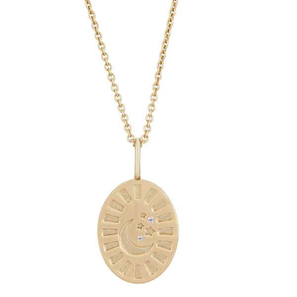 Celestial Diamond Coin Oval Pendant 9k Gold