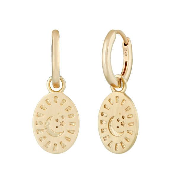 Celestial Coin Charm Hoop Earrings 9k Gold
