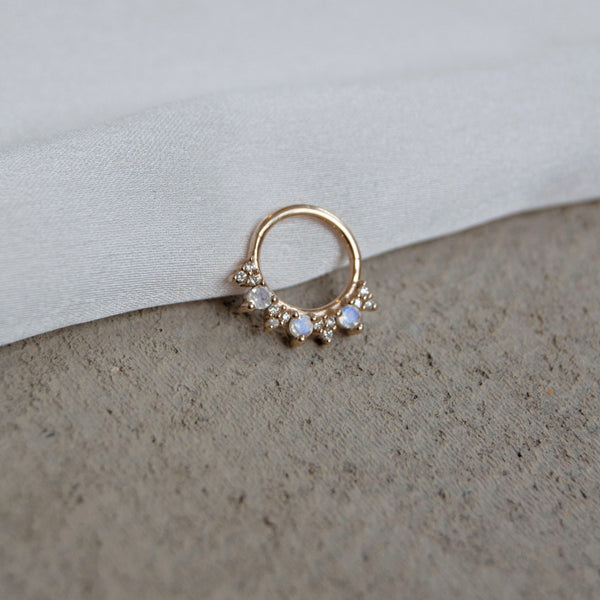 Moonstone & Diamond Daith Hoop 9k Gold