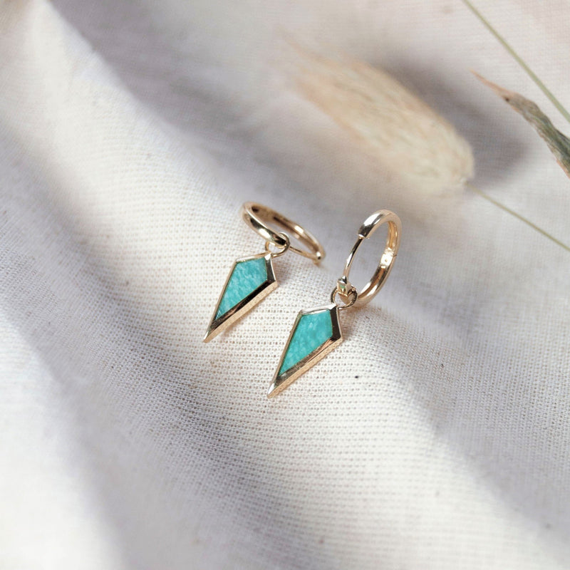 Amazonite Rhombus Hoops 9k Gold