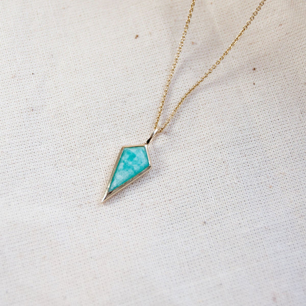 Amazonite Rhombus Necklace 9k Gold