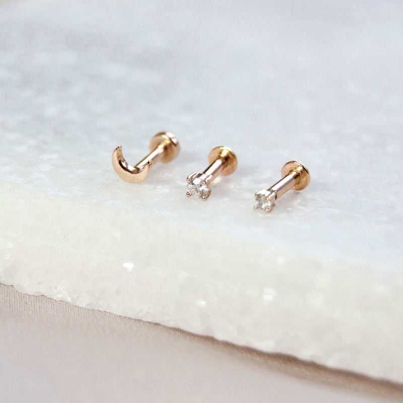 Teeny Diamond Solitaire Flat Back 9k Gold