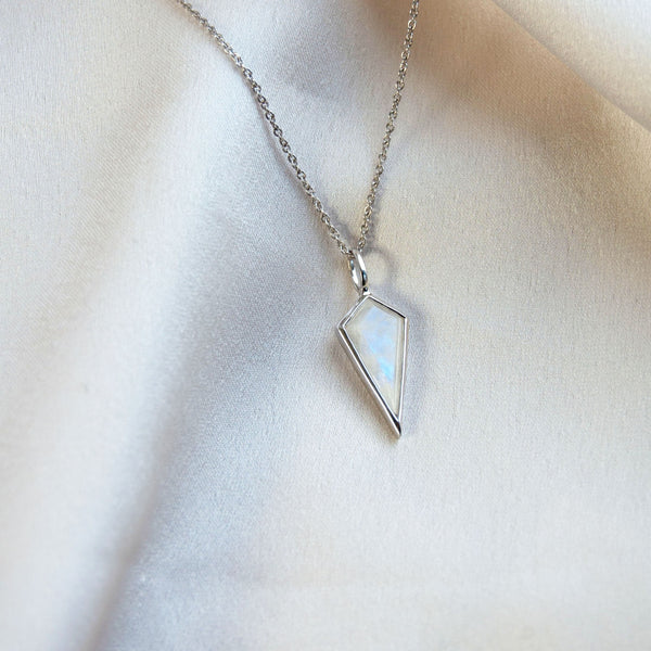 Moonstone Rhombus Necklace Sterling Silver