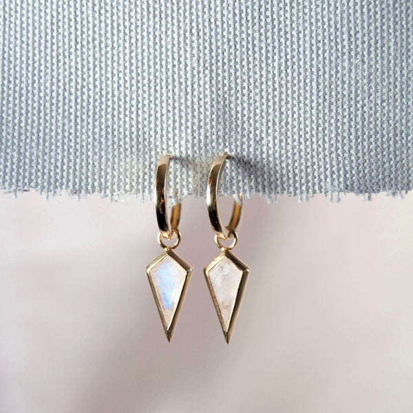 Moonstone Rhombus Hoops 9k Gold
