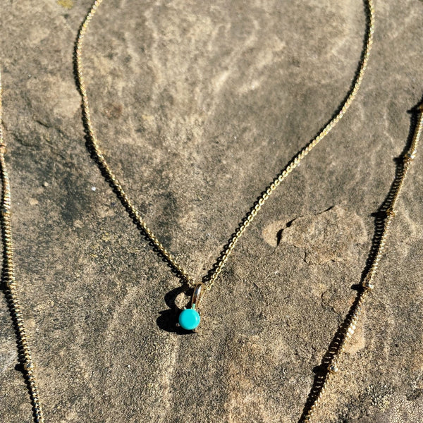 Mini Turquoise Necklace 9k Gold