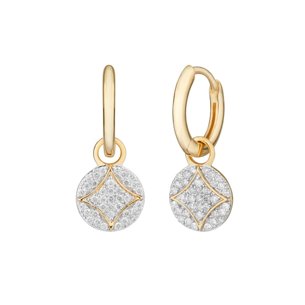 Diamond Pavé Disc Hoop Earrings 9k Gold