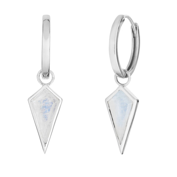 Moonstone Rhombus Hoops Sterling Silver