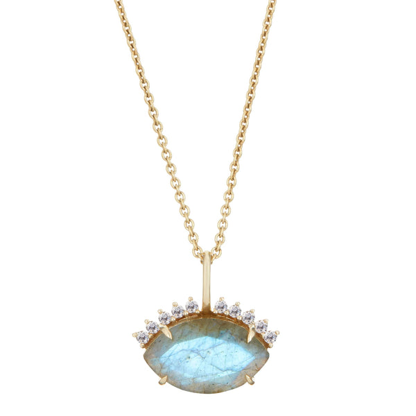 Labradorite & Diamond Eye Necklace 9k Gold