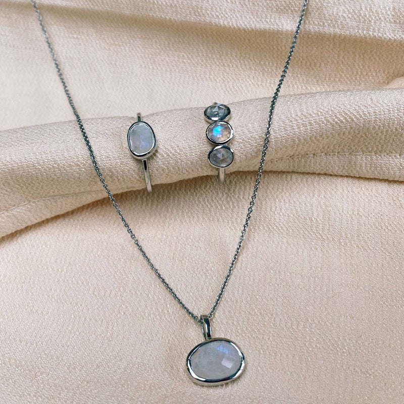 Organic Moonstone Bezel Necklace Sterling Silver