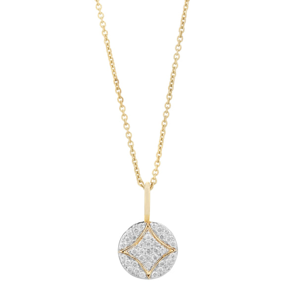 Diamond Pavé Disc Necklace 9k Gold