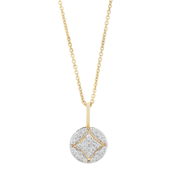 Diamond Pavé Disc Pendant 9k Gold