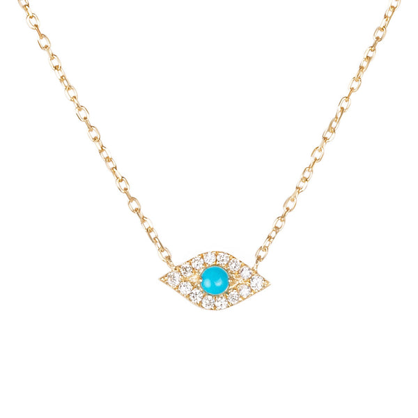 Diamond Evil Eye Choker Necklace 9k Gold