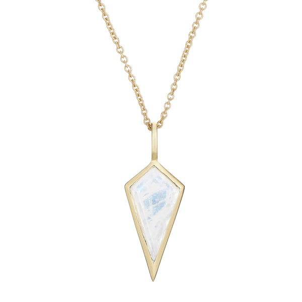 Moonstone Rhombus Necklace 9k Gold