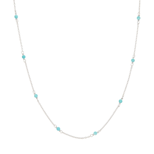 "18"" Turquoise Stationed Bead Chain Sterling Silver"