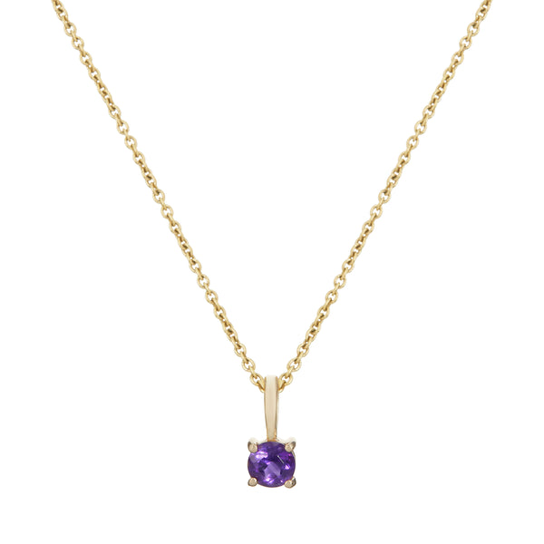 Mini Amethyst Necklace 9k Gold