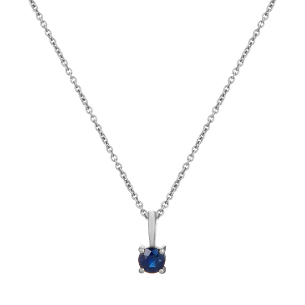 Mini Sapphire Necklace Sterling Silver