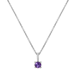 Mini Amethyst Necklace Sterling Silver