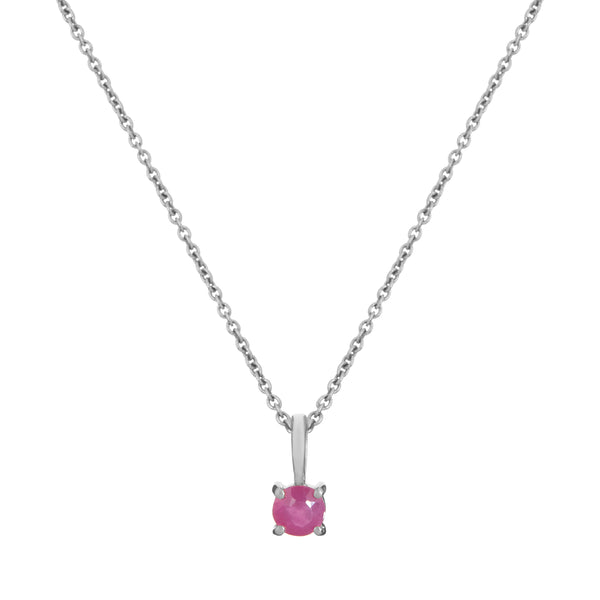 Mini Ruby Necklace Sterling Silver